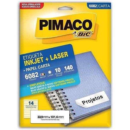 Etiqueta Carta 6082 10 Fls 33,9 X 101,6 Mm Pimaco