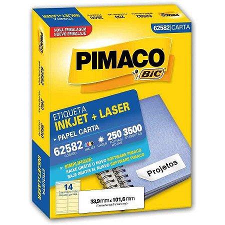 Etiqueta Carta 62582 250 Fls 33,9 X 101,6 Mm Pimaco