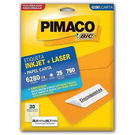 Etiqueta Carta 6280 25 Fls 25,4 X 66,7 Mm Pimaco