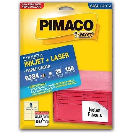Etiqueta Carta 6284 25 Fls 84,67 X 101,6 Mm Pimaco