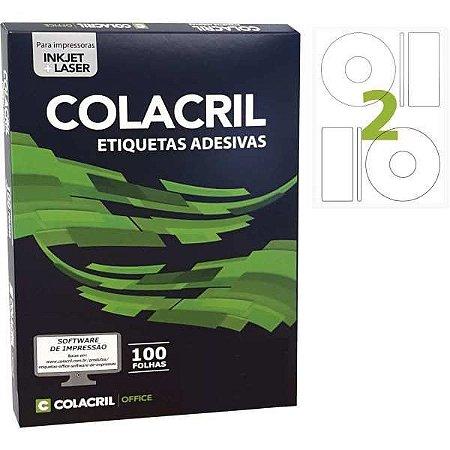 Etiqueta Para Cd E Dvd Carta 115Mm 100 Folhas Colacril