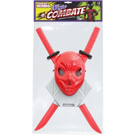 Fantasia Acessório Ninja Combate C/ Mascara 62Cm Leplastic