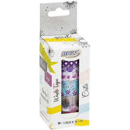 Fita Adesiva Decorada Washi Tape 15X5 Cute 5 Estampa Brw