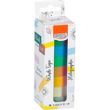 Fita Adesiva Decorada Washi Tape 15X5 Holographic 8 Brw