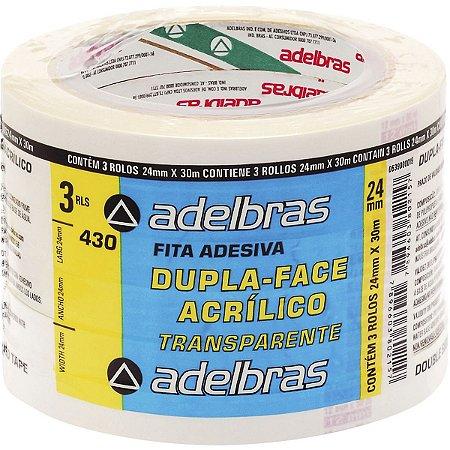 Fita Dupla Face Polipropileno 24Mmx30Mts. Adelbras