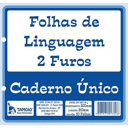 Folha 2 Furos Linguagem P/caderno Unico 50Fl Tamoio