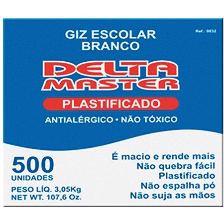 Giz Escolar Plastificado Branco Master Cx.c/500 Un. Delta