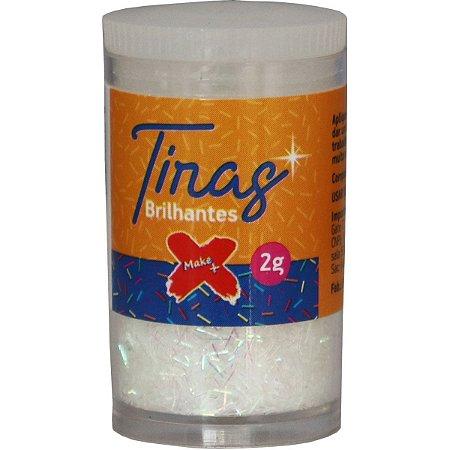 Glitter Poliester Tiras Gliter Branco Pote C/2G Make+