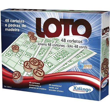 Jogo De Bingo Loto 48 Cartelas C/pedra Madei Xalingo