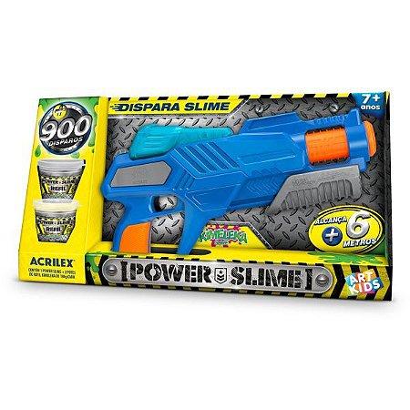 Lancador Pistola Power Slime Azul Acrilex