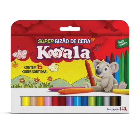 Lapis De Cera Gizao 15 Cores Super Gizao Koala Delta