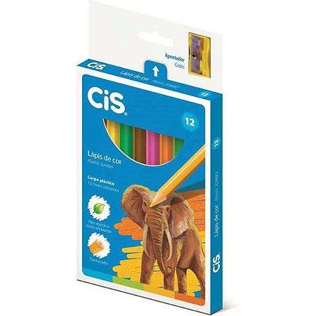 Lapis De Cor Jumbao Cis Plastic Sextavado 12 Cores Sertic