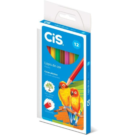 Lapis De Cor Sextavado Cis Plastic 12 Cores Sertic