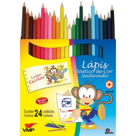 Lapis De Cor Sextavado Linha Escolar C/24Cores V.m.p.