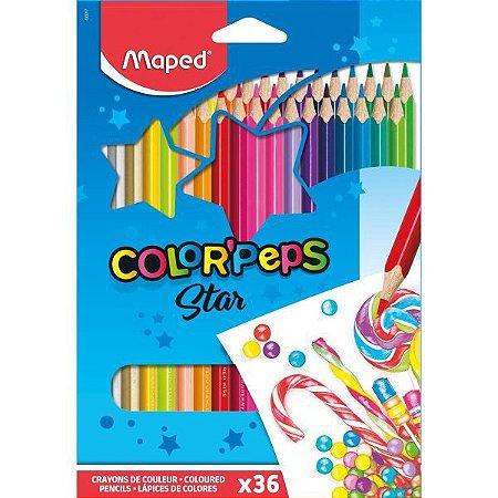 Lapis De Cor Triangular Color Peps 36 Cores Maped