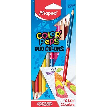 Lapis De Cor Triangular Color Peps Duo 12Lapis 24Cores Maped