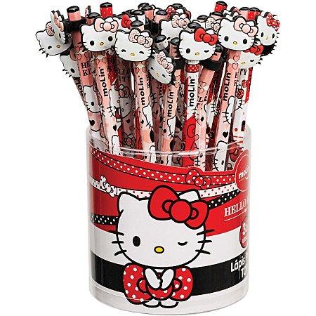 Lapis Preto Sextavado Decorado Hello Kitty Top C/borracha Molin