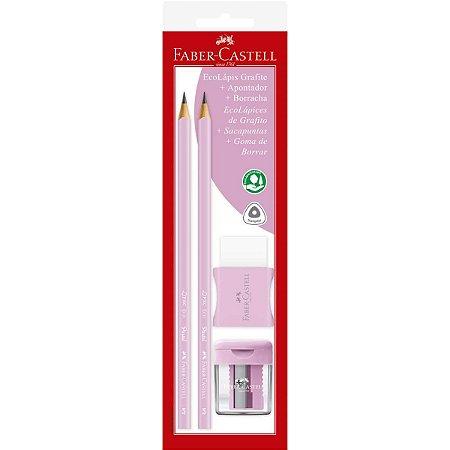 Lapis Preto Triangular Rosa Pastel C/ Borracha-Aponta Faber-Castell