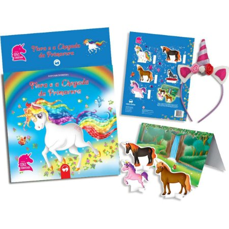 Livro Brinquedo Ilustrado Unicornios Primavera C/tiara Vale Das Letras