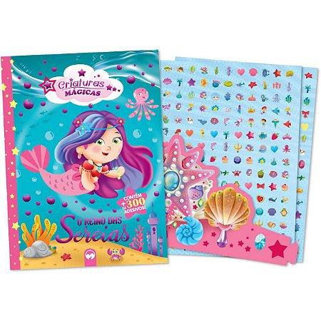 Livro Infantil Colorir Reino Das Sereias 300 Adesivos Vale Das Letras