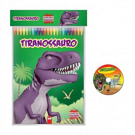 Livro Infantil Colorir Super Kit Dinossauros C/ Cd Vale Das Letras