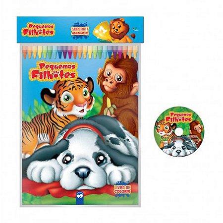 Livro Infantil Colorir Super Kit Pequenos Filhotes Cd Vale Das Letras