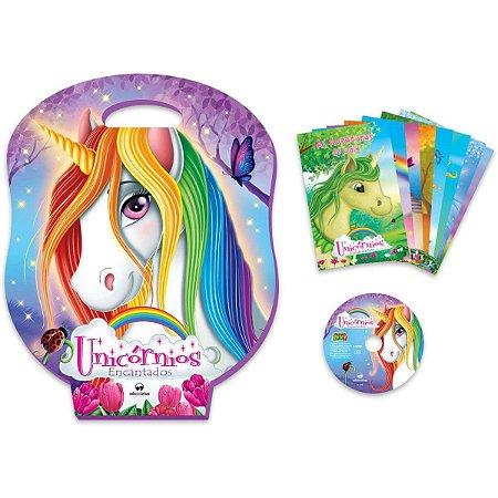 Livro Infantil Com Cd Ou Dvd Unicornios 8Volumes + Jogos Vale Das Letras