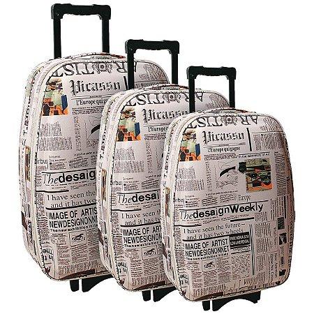 Mala De Viagem Newspaper C/03 Pecas Customiza Batiki