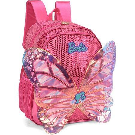 Mochila Escolar Barbie Borboleta Gd 3Bolsos Rs Luxcel