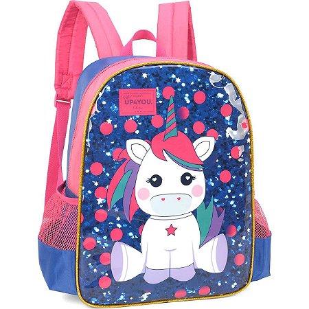 Mochila Escolar Up4You Petit Unicornio Md Az. Luxcel