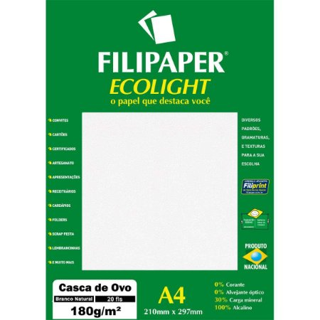 Papel A4 Casca De Ovo Branco Ecolight 180G. Filiperson