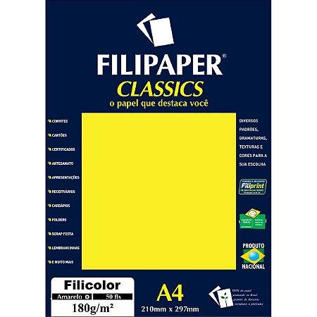 Papel A4 Color Filicolor Amarelo 180G. Filiperson
