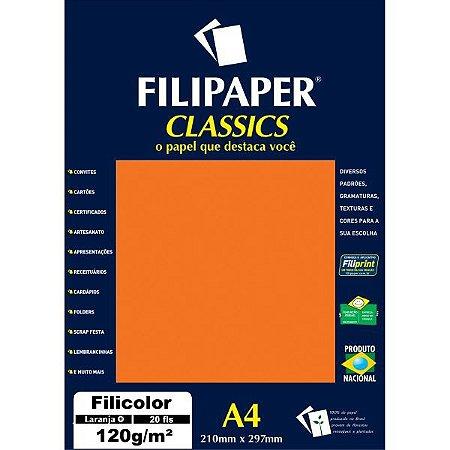 Papel A4 Color Filicolor Laranja 120G. Filiperson