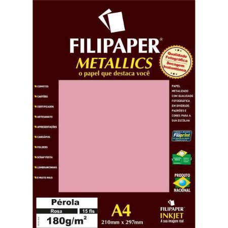Papel A4 Metalico Perola Rosa 180Gr. Filiperson