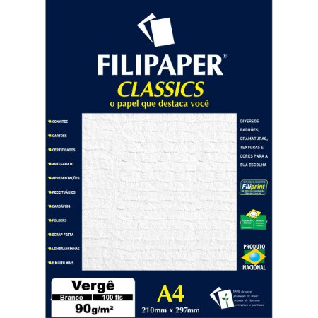 Papel A4 Verge Branco Classics 90G. Filiperson
