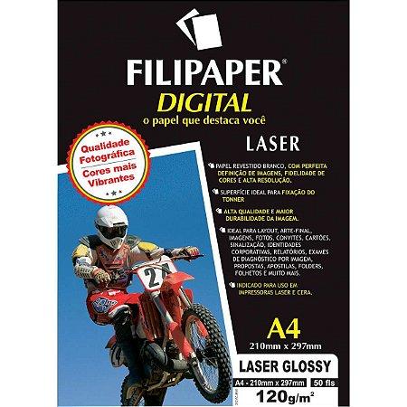Papel Fotografico Laser A4 Glossy Profissional 120G Filiperson