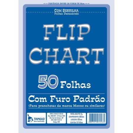 Papel Para Flip-Chart Serrilhado 620X860Mm 75G. 50F. Tamoio