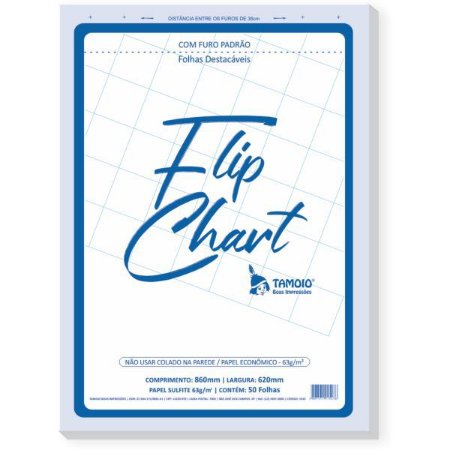 Papel Para Flip-Chart Serrilhado C/furo 62X86 50Fls Tamoio