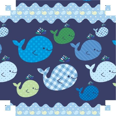 Papel Presente Bobina Couche 60Cm.mod.534 Baleia Azul V.m.p.