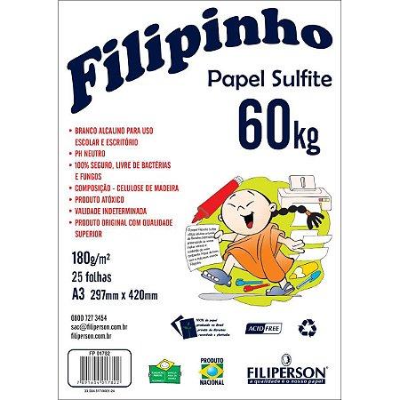 Papel Sulfite A3 60 Kilos 25Fls. Branco Filiperson