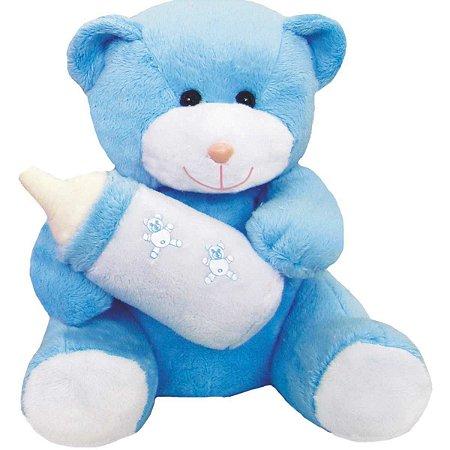 Pelucia Ursinho C/mamadeira Azul 25Cm. Soft Toys
