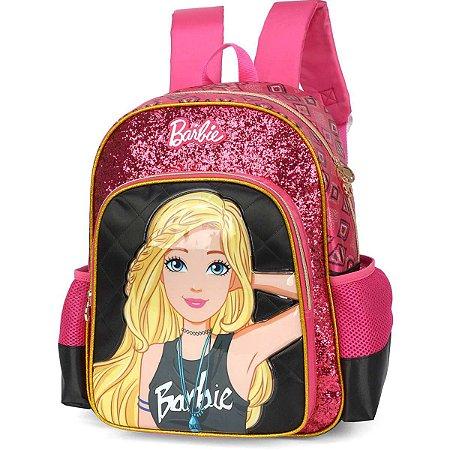 Mochila Escolar Barbie Gd 3Bolsos Preta Luxcel