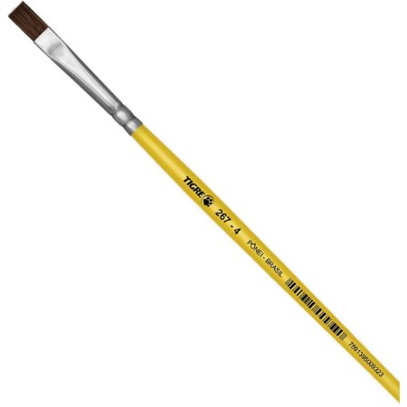 Pincel Escolar Chato 267 N.04 Amarelo Pinceis Tigre