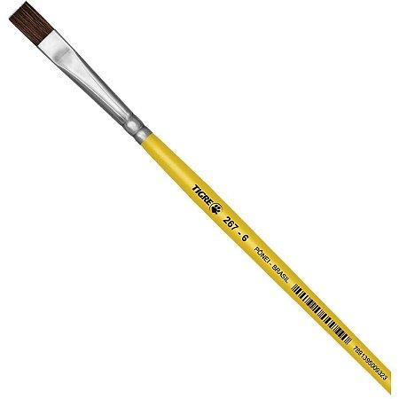 Pincel Escolar Chato 267 N.06 Amarelo Pinceis Tigre