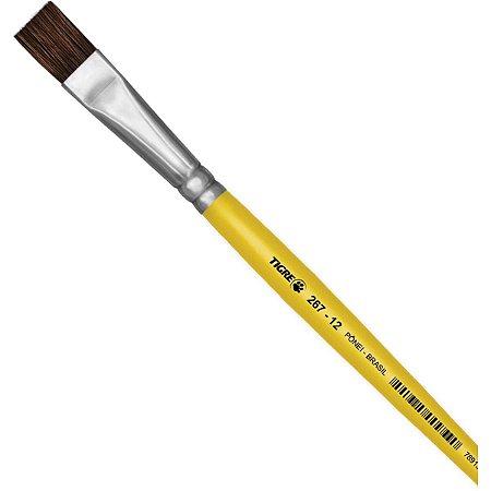 Pincel Escolar Chato 267 N.12 Amarelo Pinceis Tigre