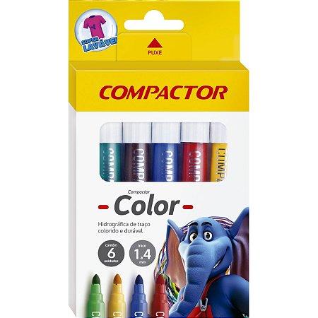 Pincel Marcador Compactor Color C/06 Cores Compactor