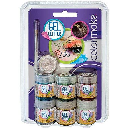Pintura Facial Gel Gliter 6 Cores+Pincel+Somb Colormake
