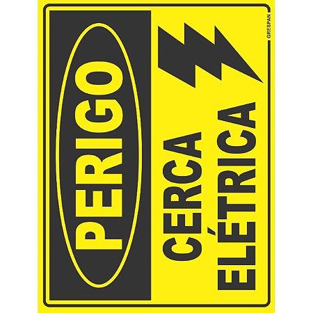 Placa De Sinalizacao Perigo Cerca Eletrica 15X20Cm. Grespan