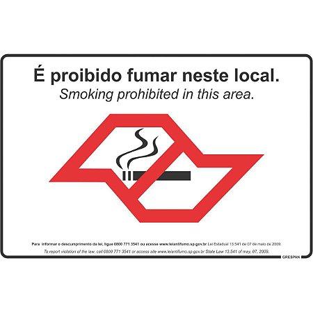 Placa De Sinalizacao Proibido Fumar 20X30Cm. Grespan