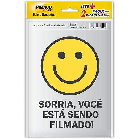 Placa De Sinalizacao Vc Esta Sendo Filmado 14X19Cm Pimaco